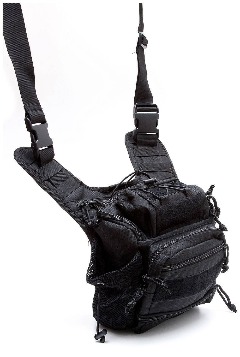Тактическая плечевая сумка Defcon 5 Tactical shoulder bag multi pocket Black D5-MSB05B