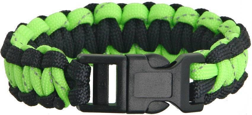 Браслет из паракорда Knotty Boys Survival Bracelett Black/Green Reflective