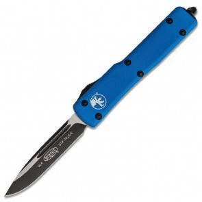 Автоматический фронтальный выкидной нож Microtech UTX-70 S/E Blue Aluminum, DLC, Bohler M390
